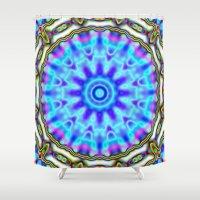 Liquid Blue Kaleido Patt… Shower Curtain
