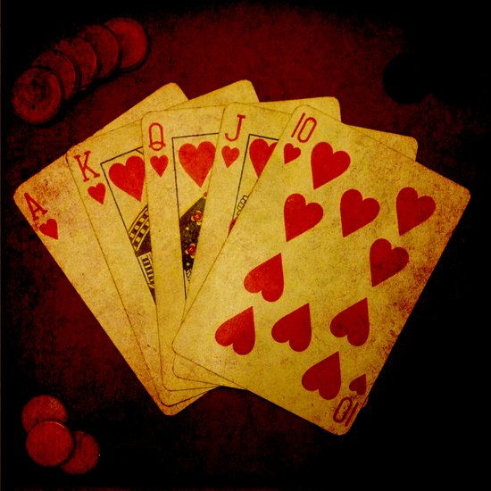 Escalera Real de Corazón (Dirty Poker) Art Print