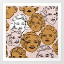 1950s in Pink & Gold Art Print