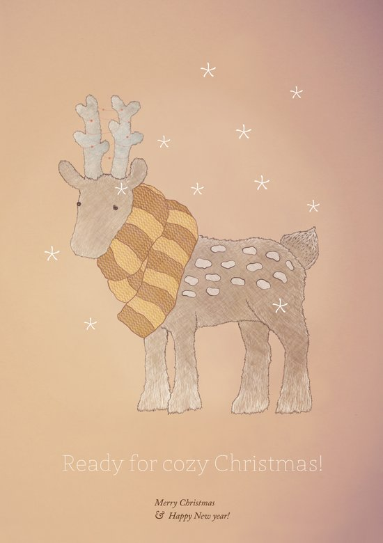 Christmas creatures- The Cozy Deer Canvas Print