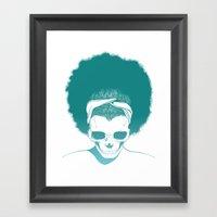 SKull GIrls 2 - Sky Teal Framed Art Print