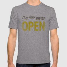 Free Hugs We're Open Mens Fitted Tee Athletic Grey SMALL