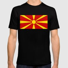 National flag of Macedonia - authentic version SMALL Mens Fitted Tee Black