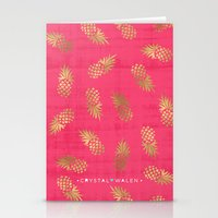 Gold Pink Paradise Pineapples Stationery Cards