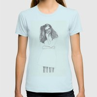 No.4 Fashion Illustratio… Womens Fitted Tee Light Blue SMALL