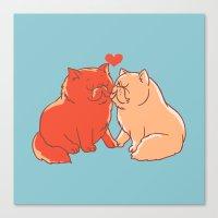 Cat Kisses Canvas Print