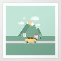 Little Yellow Car Art Print