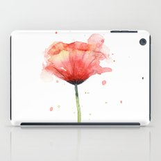 Red Poppy Watercolor | Floral Illustration iPad Case