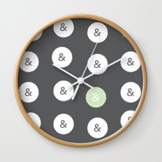 spot color ampersand Wall Clock