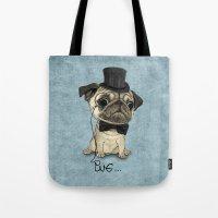 Pug; Gentle Pug (v3) Tote Bag