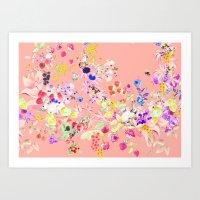 Soft Bunnies Pink Art Print