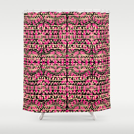 Tapestry Pattern Small Scale - Golden Pink Shower Curtain