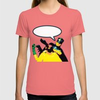 Robin and Bat Man in Action Womens Fitted Tee Pomegranate SMALL