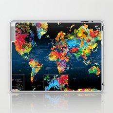 World Map Black Background 2 Laptop & iPad Skin