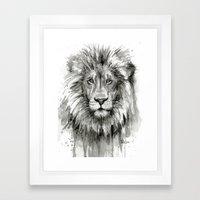 Lion Watercolor Black and White Animal Portrait Framed Art Print