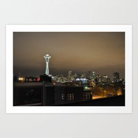 Seattle Skyline at Night Art Print