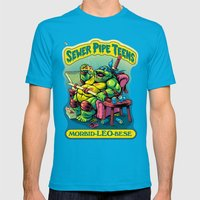 SEWER PIPE TEENS: Morbid-LEO-bese Mens Fitted Tee Teal SMALL