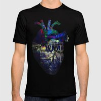 Denver in a Glitched Heart Mens Fitted Tee Black SMALL
