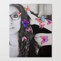 self-portrait with butterflies Canvas Print
