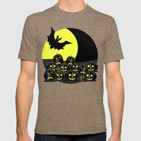 Pumpkins And Bat At Nigh… Mens Fitted Tee Tri-Coffee SMALL