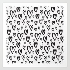 Inky Dinky Hearts Art Print
