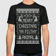 Merry Christmas Ya Filth… Mens Fitted Tee Tri-Black SMALL