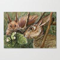 Bunny, Squirrel And Nuts… Canvas Print