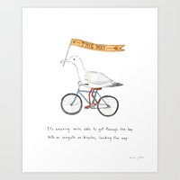 seagulls on bicycles Art Print