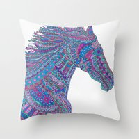 Technicolor Horse Throw Pillow