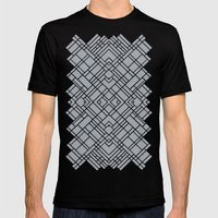 Map Outline 45 Grey Repeat Mens Fitted Tee Black SMALL