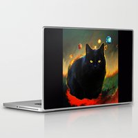 black cat Laptop & iPad Skins featuring black cat by ururuty