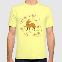 Cute as a Fox Mens Fitted Tee Lemon SMALL