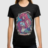 Zombie Little Mermaid Womens Fitted Tee Tri-Black SMALL