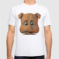 A Scared Little Pig Mens Fitted Tee Ash Grey SMALL