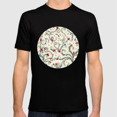 Floral pattern SMALL Black Mens Fitted Tee