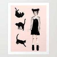 Augustine and cats Art Print