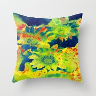 Throw Pillow featuring Bright Flowers  Https://… by Clemm