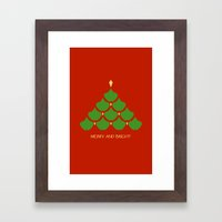 Merry and Bright Ginkgo Christmas Tree Framed Art Print