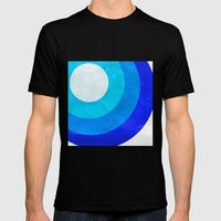 The Moon Circles Blue Mens Fitted Tee Black SMALL