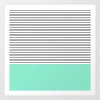 stripes Art Prints featuring Minimal Mint Stripes by Allyson Johnson