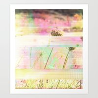 Wild Flower Glitch Art Print