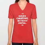 Merry Christmas, Ya Filt… Unisex V-Neck