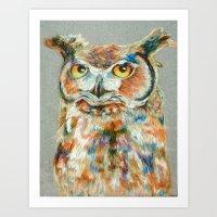Owl Pastel Art Print