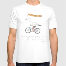 seagulls on bicycles Mens Fitted Tee White SMALL
