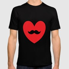 Mustache heart SMALL Black Mens Fitted Tee