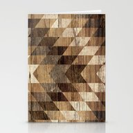 Wood Grain Tribal Geomet… Stationery Cards