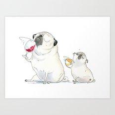 The Sommeliette - Wine and Pugs Art Art Print
