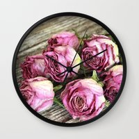 Dried Pink Roses Wall Clock