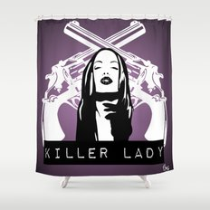 KILLER LADY LOGO TWO  Shower Curtain