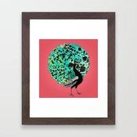 Neon Peacock Framed Art Print